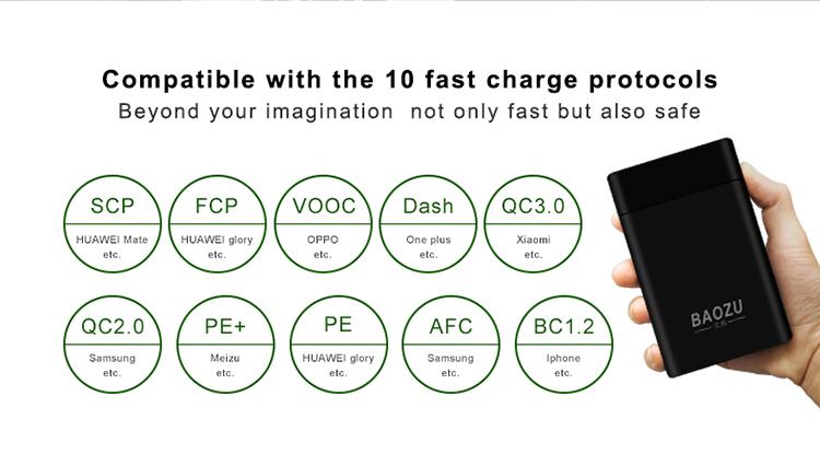 (Gen2.1) Baozu M1 10000 mAh (SuperCharge (ยกเว้น MATE20), VOOC , Dash, MTK PE, QC3.0) ที่สุดของPowerbank ชาร์จครบเกือบทุกเทคโนโลยี