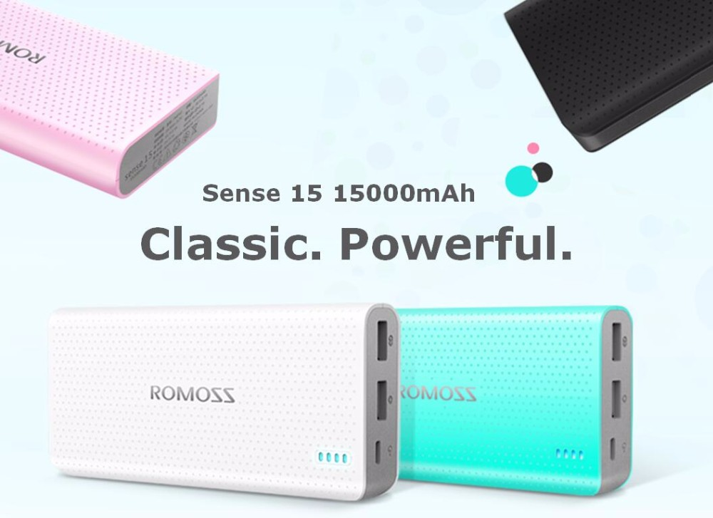 ROMOSS Sense15 (slim) 15000mAh Lithium-Polymer Powerbank (สีดำ)