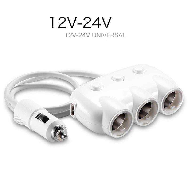Joyroom M206 เพิ่มช่องจุดบุหรี่เป็น3ช่อง + หัวชาร์จมือถือ USB ในตัว