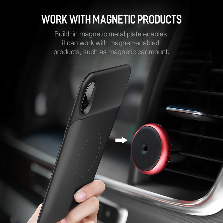 ROCK เคสแบตสำรอง iPhone X 6000mah เสียบหูฟังได้ เคสแม่เหล็กในตัว (สีดำ)