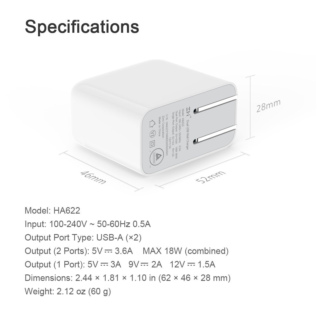 ZMI QC3.0 2 ports (แถม สายUSB-C) ที่ชาร์จมือถือ QC3.0 2ช่องชาร์จ แถมสาย Type-C ชาร์จมือถือ Tablet USB Charger QC 3.0 Port Fast Mobile Phone Charging Smart Output Quick Wall Charger Type-C