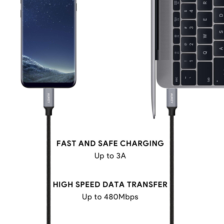 AUKEY (100CM) USB-C to USB-C (3A) Cable สาย Type-C to Type-C สำหรับ Macbook, และมือถือที่รองรับ USB-C (Type-C) และอื่นๆ สีเทา
