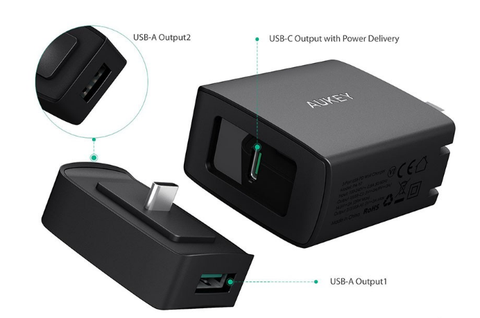 (2018) Aukey 29W PD2.0 USB-C or USB-A (2ports) :Wall Charger with Power Delivery 2.0