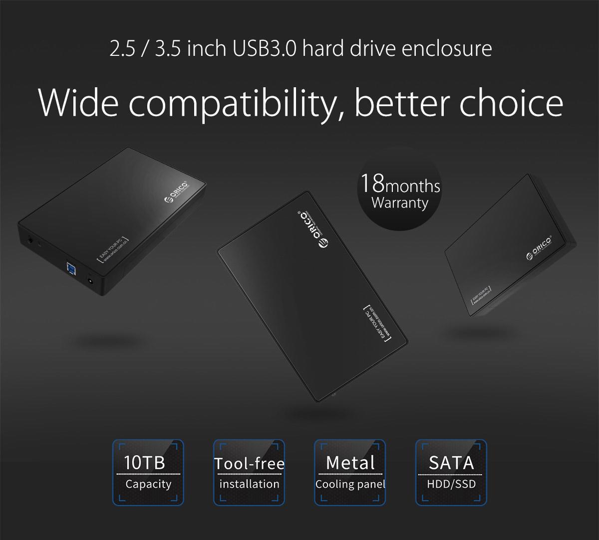 กล่องใส่ HDD Orico 3588US3 SATA 2.5/3.5นิ้ว USB3.0 (5Gbps) Hard disk
