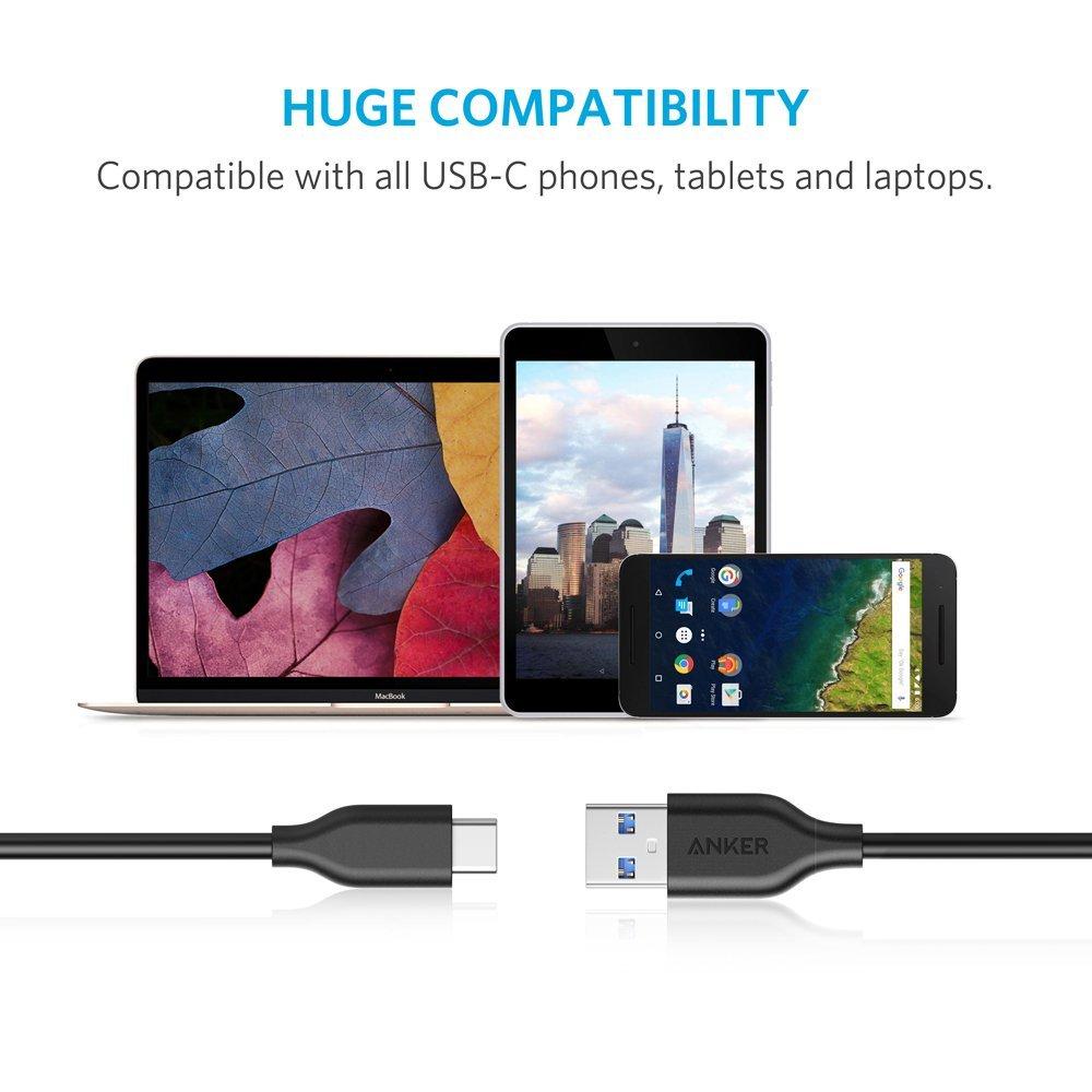 Anker (300CM) PowerLine สาย USB-C 3.0 to USB-A ชาร์จเร็วสุด3A ภายในหุ้มผ้าเคฟล่ากันกระสุน สายไวนิล 30CM (สีดำ)