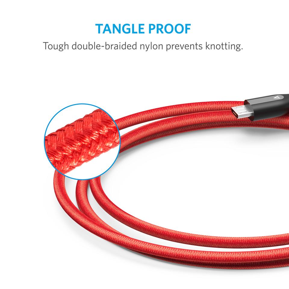 Anker (180CM) PowerLine+ สาย iPhone, iPad สายไนล่อนถัก2ชั้นผสมผ้าเคฟล่ากันกระสุน 180CM (สีแดง)