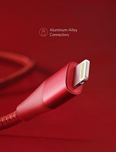 (ไม่มีกล่องแถม) Anker (90CM) PowerLine+ Gen2 สาย iPhone สายไนล่อนถัก2ชั้นผสมผ้าเคฟล่ากันกระสุน สีแดง