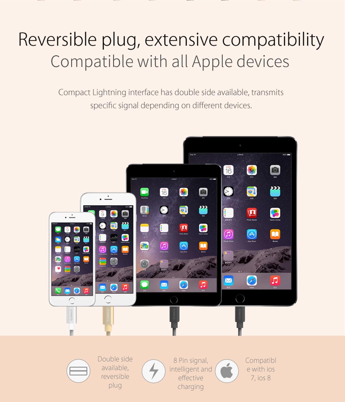 สายไนล่อนถัก iPhone (ยาวพิเศษ2เมตร) Orico Aluminium Shield รองรับไฟสูงสุด 3A Syncข้อมูลได้ (สีดำ)