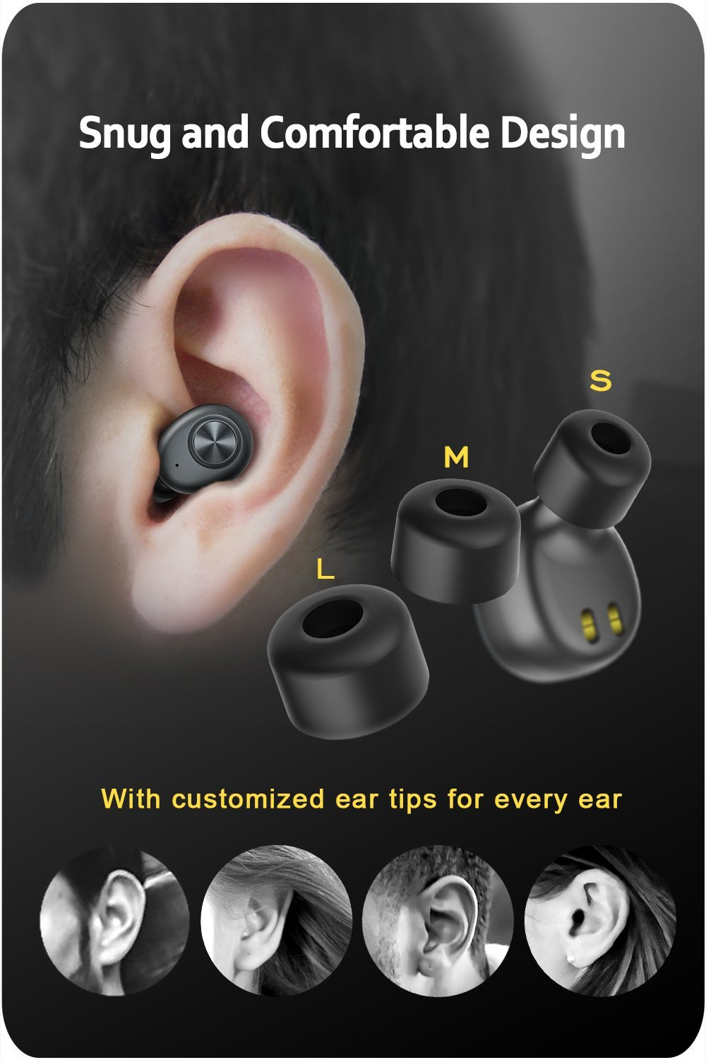 ZNT Extreme BASS AirFits (รุ่น Upgrade) True Wireless Earbuds, Bluetooth Earbuds with Easy Link Technology