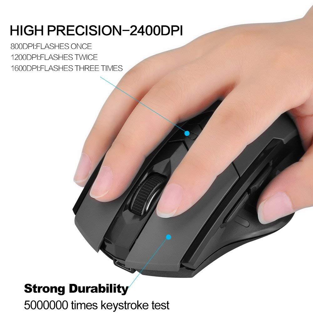 เมาส์ไร้สาย Inphic M6 (ขนาดใหญ่เหมาะมือ) (มีแบตในตัว) (ปุ่มมีเสียง) (มีปุ่มปรับความไวเมาส์ DPI 800-1600) มี (Premium Optical Light ใช้งานได้เกือบทุกสภาพผิว) Rechargeable Wireless Mouse M6