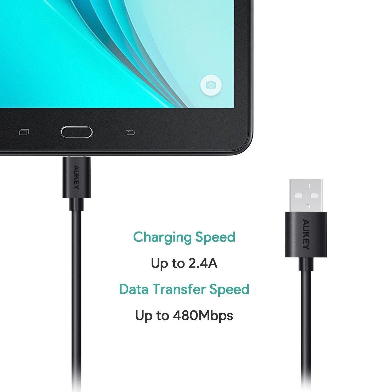 (แพ็ค3) Aukey สายชาร์จเร็ว (MicroUSB 120cm 3เส้น) สายชาร์จ Quick Charge QC Compatible CB-D10