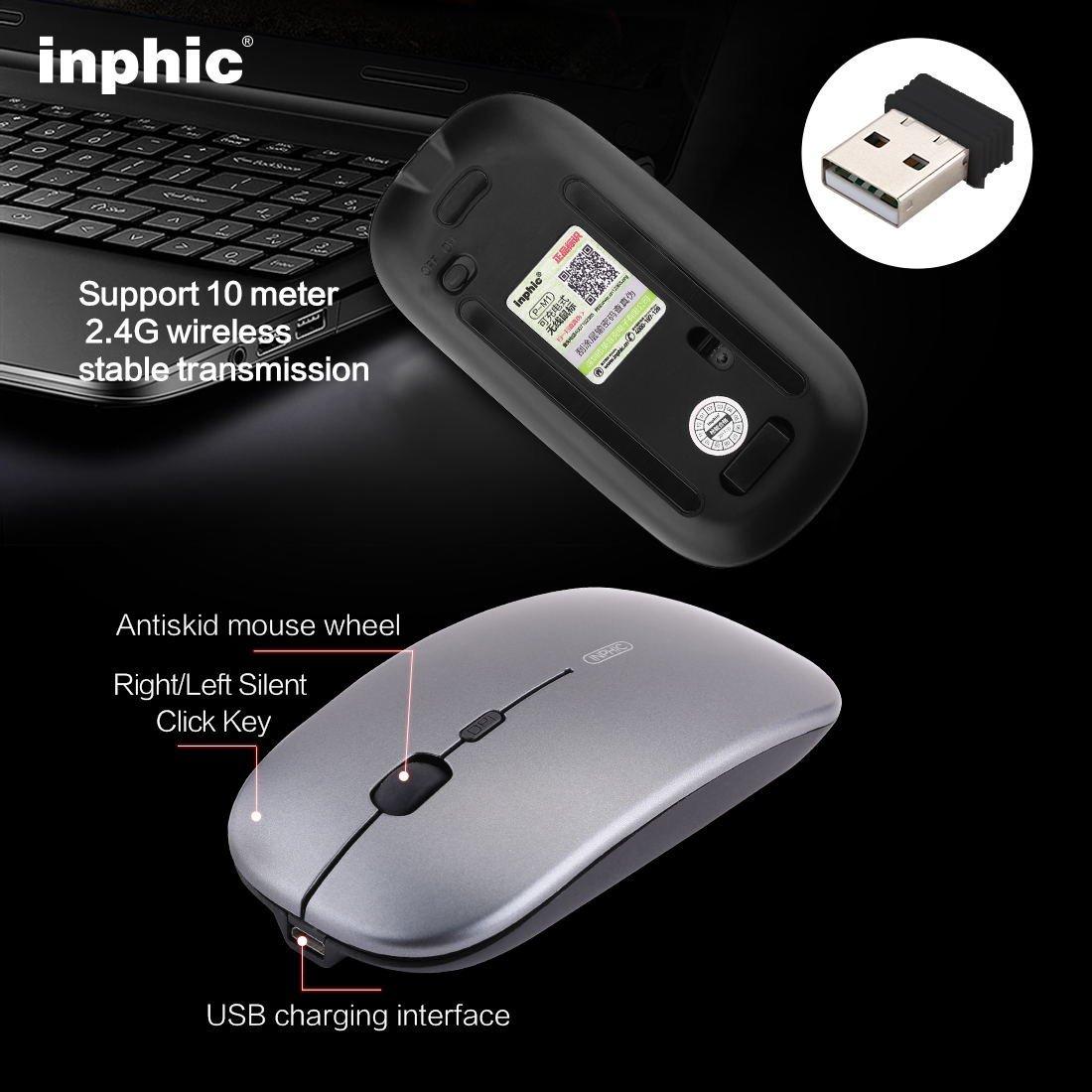 เมาส์ไร้สาย Inphic M1 (มีแบตในตัว) (ปุ่มเงียบ) (มีปุ่มปรับความไวเมาส์ DPI 1000-1600) มี (Premium Optical Light ใช้งานได้เกือบทุกสภาพผิว) สีดำ