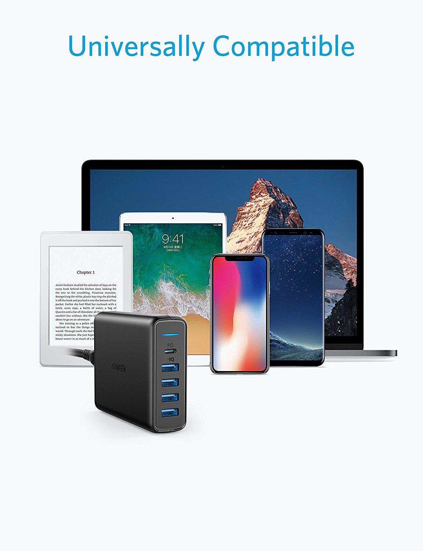 2018 ANKER Speed 60W PD PowerPort 5ช่องชาร์จ (1 USB Type-C PD30w, 4 IQ Ports) หัวชาร์จมือถือ ที่ชาร์จแท็บเล็ต Power Delivery