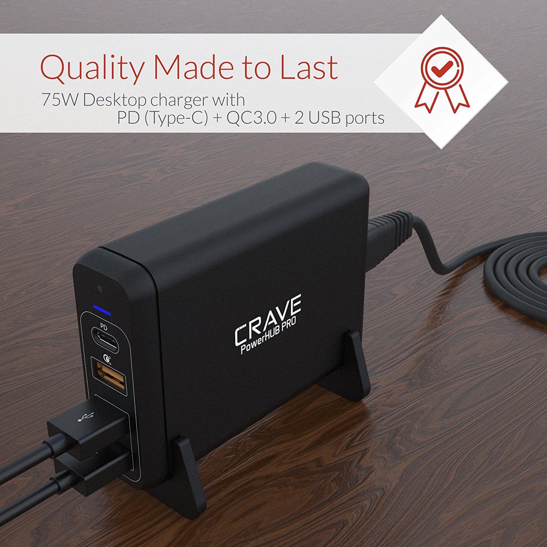 Crave PowerHUB PRO: หัวชาร์จเร็ว PD(60W)+QC3.0 4ช่องชาร์จ (1PD (60W) 1 QC3.0, 2 5V2.4A) Charging Adapter ชาร์จไฟได้สูงสุดรวม75W 4-port Desktop Charger