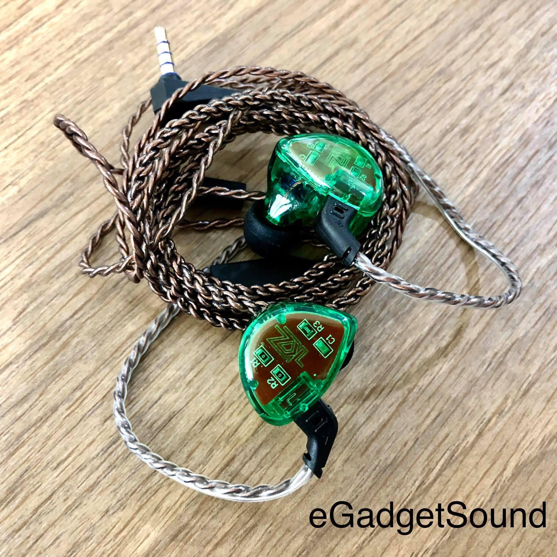 KZ หูฟังรุ่น ES4 สีเขียว (มีไมค์) หูฟัง Hybrid 1BA+1DD ไดร์เวอร์ ถอดเปลี่ยนสายได้ ประกัน 6 เดือน
