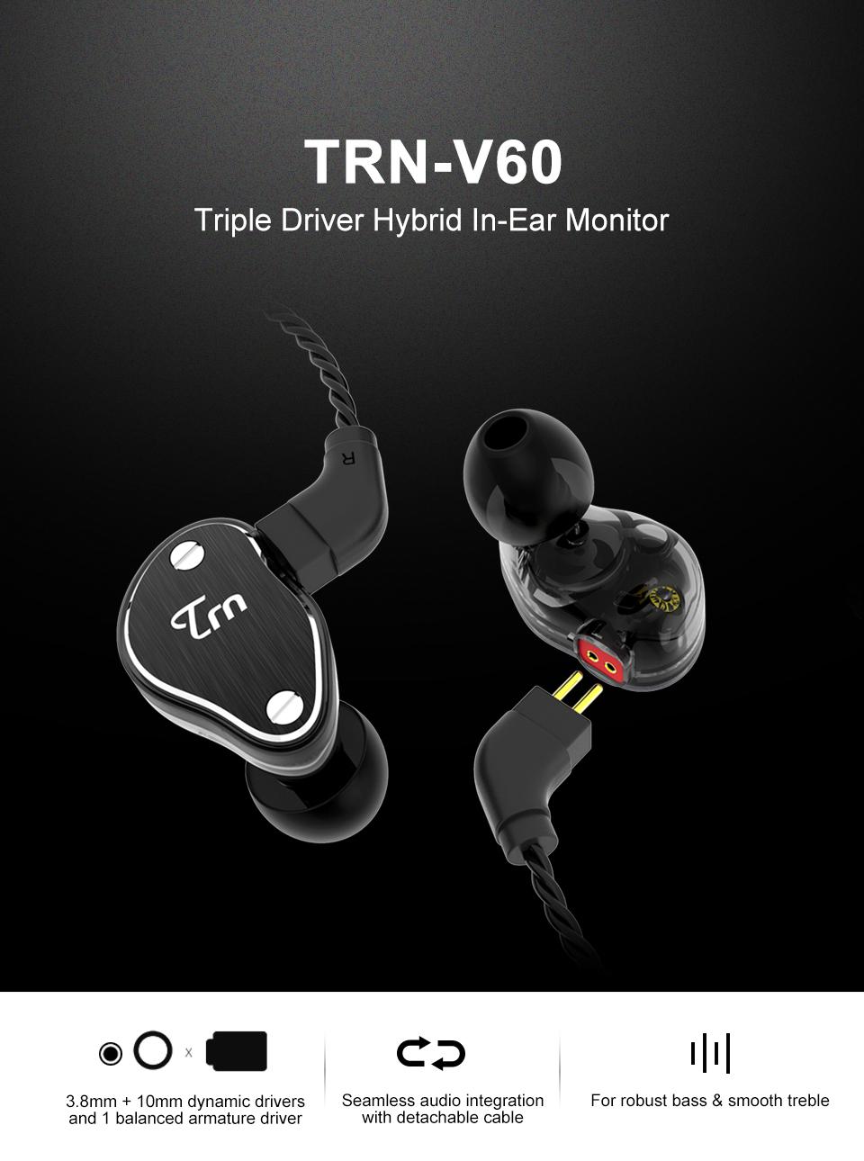 TRN V60 (มีไมค์) (แถมBigBagกันกระแทก) (เบสหนัก) สาย 4Core หูฟัง Hybrid 2 ไดร์เวอร์ (2 Balance Amature + 1 Dynamic ต่อข้าง) สีแดง