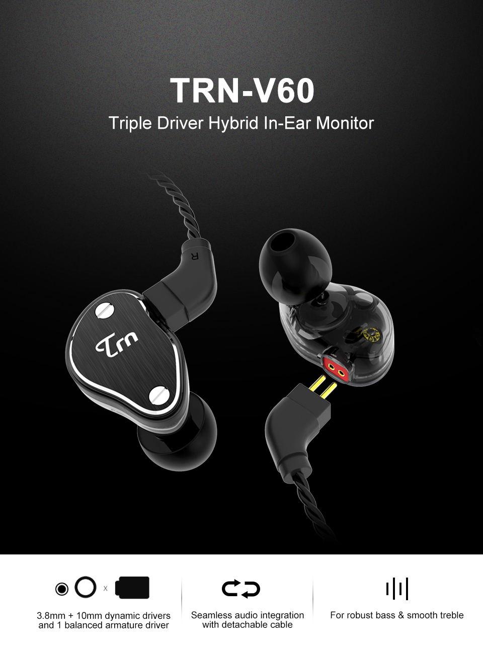 TRN V60 (มีไมค์) (แถมBigBagกันกระแทก) (เบสหนัก) สาย 4Core หูฟัง Hybrid 2 ไดร์เวอร์ (2 Balance Amature + 1 Dynamic ต่อข้าง) สีน้ำเงิน