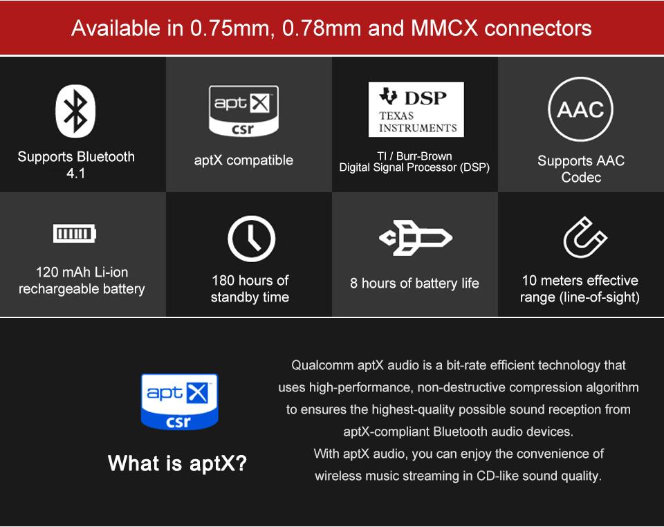 TRN ฺBT4.1 APTX (Qualcomm) สายบลูทูธอัพเกรดสำหรับหูฟัง Kz เเละ TFZ