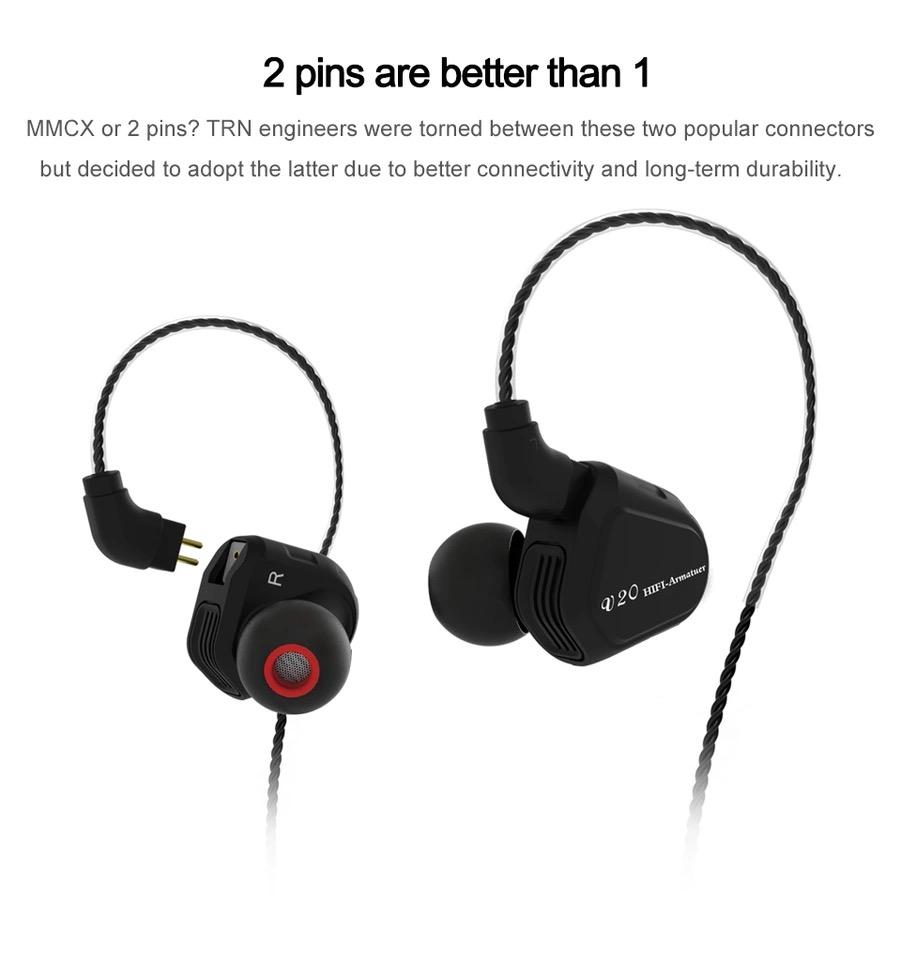 TRN V20 (มีไมค์) (แถมBigBagกันกระแทก) (เบสหนัก) สาย 4Core หูฟัง Hybrid 2 ไดร์เวอร์ (1 Balance Amature + 1 Dynamic ต่อข้าง) สีดำ