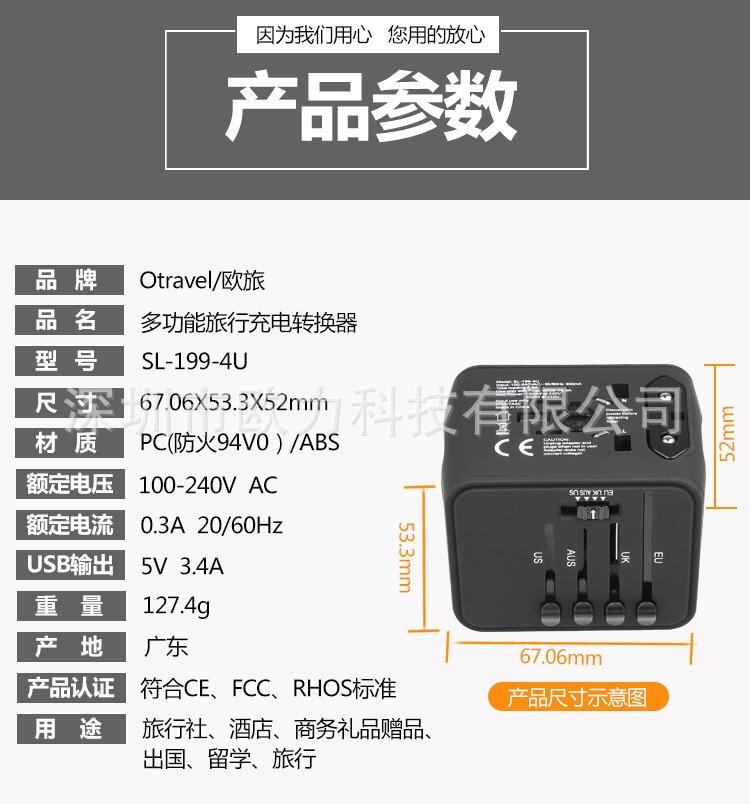 Professional Serie หัวปลั๊กแปลงไฟทั่วโลก มีช่องชาร์จ USB 4ช่อง (สูงสุด 3.4A) หัวแปลงขาปลั๊กทั่วโลก ระบบฟิวล์กันไฟกระชาก ปลอดภัยสูงสุด 4 Ports USB, Fuse Universal Travel Adapter สีดำ