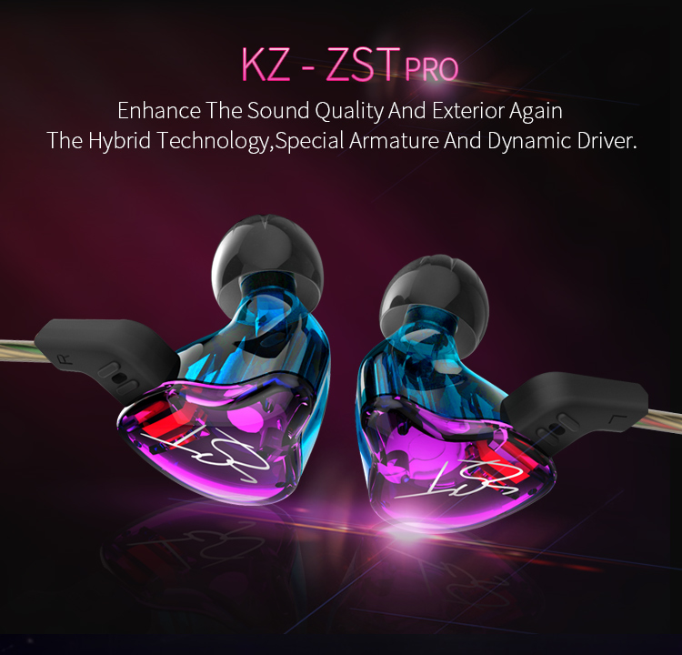 KZ ZST New Edition2 สีม่วง (สายถักทองแดง-มีไมค์) hybrid driver 1DD+1BA เบสลึก ถอดสายได้ (Mic)