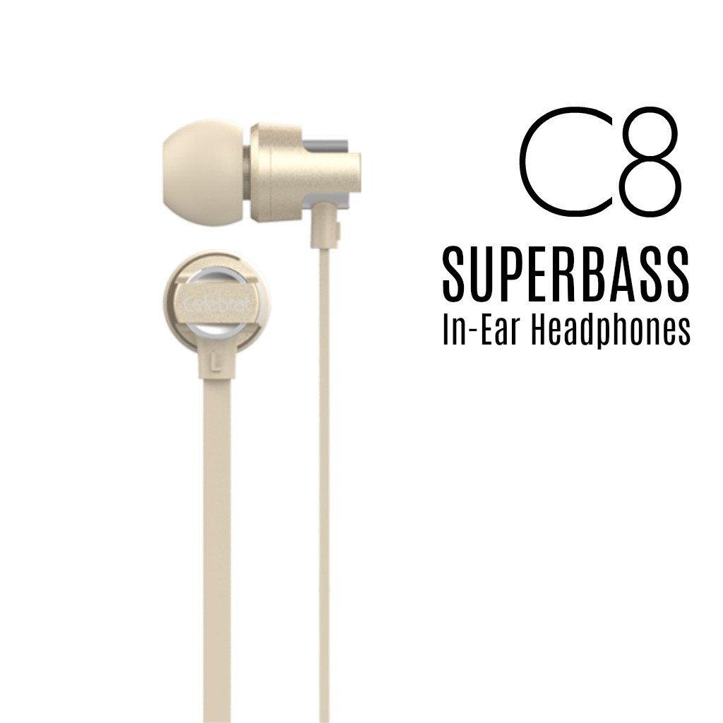 หูฟัง (มีไมค์) Super Bass Celebrat C8 หูฟังIEM แบบสอดหู สีทอง